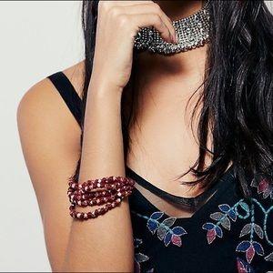 Free People niece bracelet Beaded red